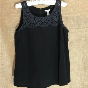 J. Crew Black Lisette Lace Shell Silk Blouse - 10